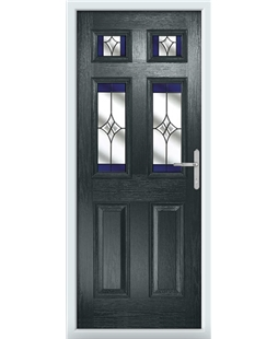 The Oxford Composite Door in Grey (Anthracite) with Blue Crystal Harmony