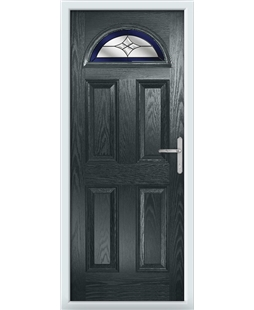 The Derby Composite Door in Grey (Anthracite) with Blue Crystal Harmony