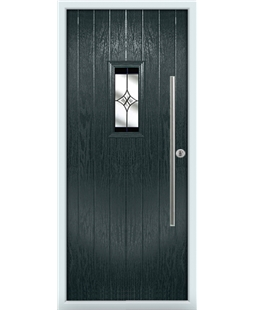 The Zetland Composite Door in Grey (Anthracite) with Black Crystal Harmony