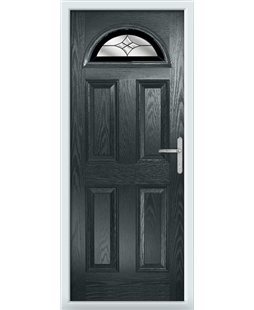 The Derby Composite Door in Grey (Anthracite) with Black Crystal Harmony