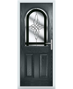 The Edinburgh Composite Door in Grey (Anthracite) with Black Crystal Harmony
