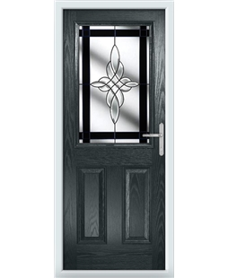 The Farnborough Composite Door in Grey (Anthracite) with Black Crystal Harmony