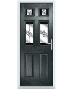The Oxford Composite Door in Grey (Anthracite) with Black Crystal Harmony