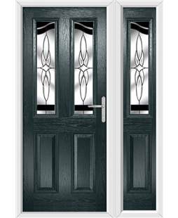 The Birmingham Composite Door in Grey (Anthracite) with Black Crystal Harmony and matching Side Panel