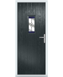 The Taunton Composite Door in Grey (Anthracite) with Blue Crystal Harmony