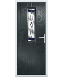 The Sheffield Composite Door in Grey (Anthracite) with Blue Crystal Harmony
