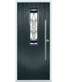 The York Composite Door in Grey (Anthracite) with Blue Crystal Harmony