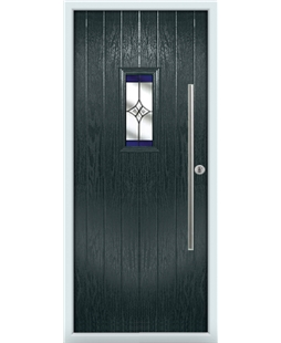 The Zetland Composite Door in Grey (Anthracite) with Blue Crystal Harmony