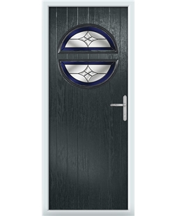 The Queensbury Composite Door in Grey (Anthracite) with Blue Crystal Harmony