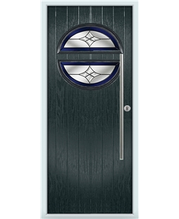 The Xenia Composite Door in Grey (Anthracite) with Blue Crystal Harmony