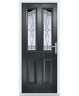 The Birmingham Composite Door in Grey (Anthracite) with Crystal Harmony Frost