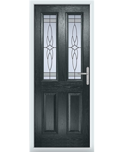The Cardiff Composite Door in Grey (Anthracite) with Crystal Harmony Frost