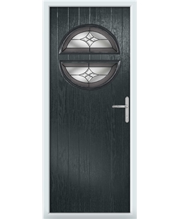 The Queensbury Composite Door in Grey (Anthracite) with Crystal Harmony Frost