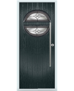 The Xenia Composite Door in Grey (Anthracite) with Crystal Harmony Frost