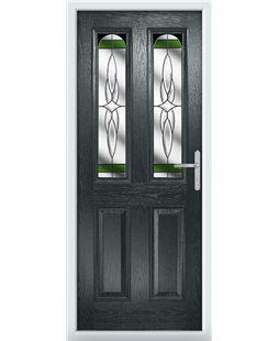The Aberdeen Composite Door in Grey (Anthracite) with Green Crystal Harmony