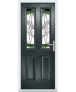 The Birmingham Composite Door in Grey (Anthracite) with Green Crystal Harmony