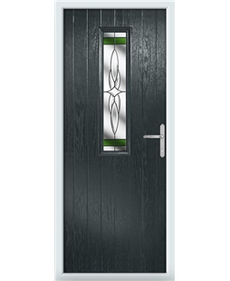 The Sheffield Composite Door in Grey (Anthracite) with Green Crystal Harmony