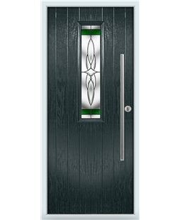 The York Composite Door in Grey (Anthracite) with Green Crystal Harmony