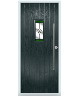 The Zetland Composite Door in Grey (Anthracite) with Green Crystal Harmony