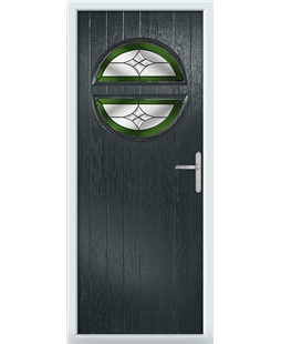 The Queensbury Composite Door in Grey (Anthracite) with Green Crystal Harmony