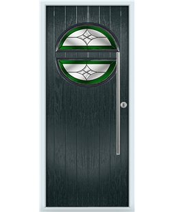 The Xenia Composite Door in Grey (Anthracite) with Green Crystal Harmony