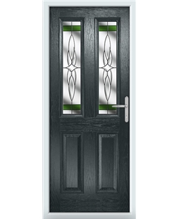 The Cardiff Composite Door in Grey (Anthracite) with Green Crystal Harmony