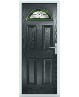 The Derby Composite Door in Grey (Anthracite) with Green Crystal Harmony