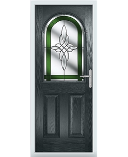 The Edinburgh Composite Door in Grey (Anthracite) with Green Crystal Harmony
