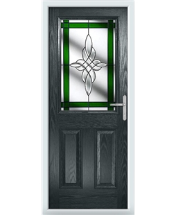 The Farnborough Composite Door in Grey (Anthracite) with Green Crystal Harmony