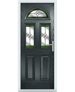 The Glasgow Composite Door in Grey (Anthracite) with Green Crystal Harmony