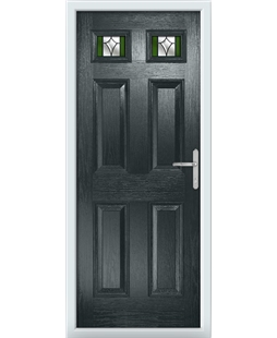 The Ipswich Composite Door in Grey (Anthracite) with Green Crystal Harmony