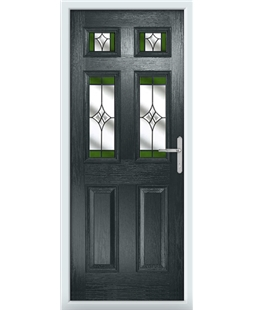 The Oxford Composite Door in Grey (Anthracite) with Green Crystal Harmony