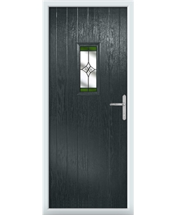 The Taunton Composite Door in Grey (Anthracite) with Green Crystal Harmony