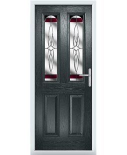 The Aberdeen Composite Door in Grey (Anthracite) with Red Crystal Harmony