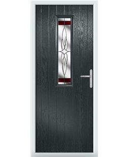 The Sheffield Composite Door in Grey (Anthracite) with Red Crystal Harmony
