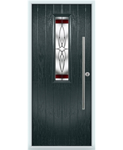 The York Composite Door in Grey (Anthracite) with Red Crystal Harmony