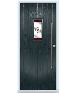 The Zetland Composite Door in Grey (Anthracite) with Red Crystal Harmony