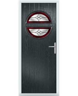 The Queensbury Composite Door in Grey (Anthracite) with Red Crystal Harmony
