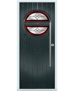 The Xenia Composite Door in Grey (Anthracite) with Red Crystal Harmony