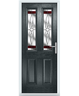 The Cardiff Composite Door in Grey (Anthracite) with Red Crystal Harmony