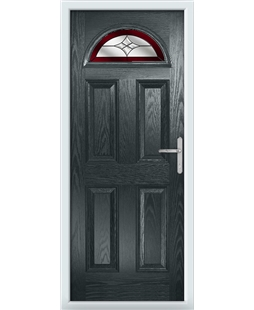 The Derby Composite Door in Grey (Anthracite) with Red Crystal Harmony