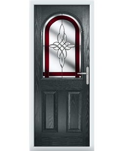 The Edinburgh Composite Door in Grey (Anthracite) with Red Crystal Harmony