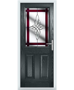The Farnborough Composite Door in Grey (Anthracite) with Red Crystal Harmony