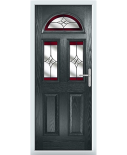 The Glasgow Composite Door in Grey (Anthracite) with Red Crystal Harmony