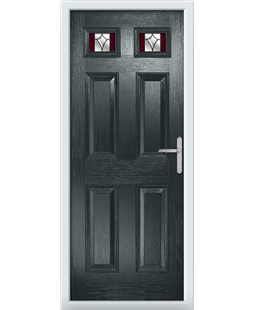 The Ipswich Composite Door in Grey (Anthracite) with Red Crystal Harmony