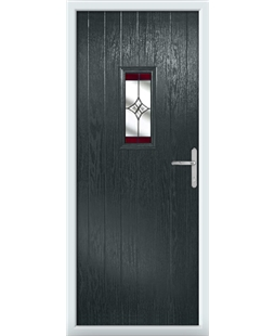 The Taunton Composite Door in Grey (Anthracite) with Red Crystal Harmony