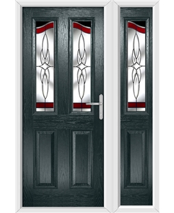 The Birmingham Composite Door in Grey (Anthracite) with Red Crystal Harmony and matching Side Panel