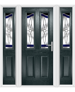 The Birmingham Composite Door in Grey (Anthracite) with Blue Crystal Harmony and matching Side Panels