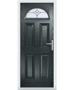 The Derby Composite Door in Grey (Anthracite) with Crystal Tulip Arch