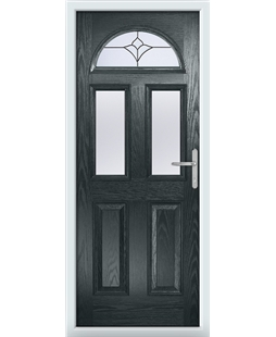 The Glasgow Composite Door in Grey (Anthracite) with Crystal Tulip Arch